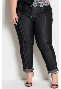Calça Jeans Preta Plus Size Costuras Contrastes