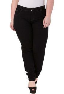 Calça Confidencial Extra Plus Size Jeans Cigarrete Feminina - Feminino-Preto