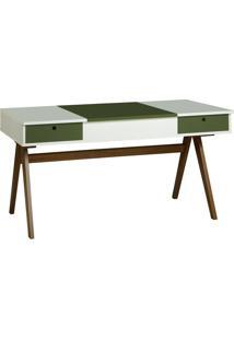 Escrivaninha Delacroix 430 Nogal/Branco/Verde Musgo - Maxima