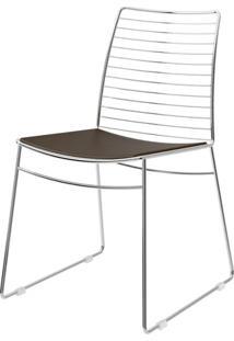 Cadeira 1712 Cromado Com Assento Couro Cacau - 27674