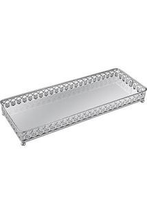 Bandeja Em Metal Com Espelho, Moas, Prata, 6537