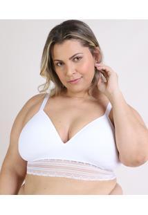 Sutiã Trifil Plus Size Triangulo Com Bojo E Renda Branco