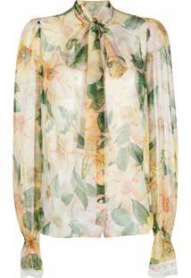 Dolce & Gabbana Blusa Com Estampa Camellia - Amarelo