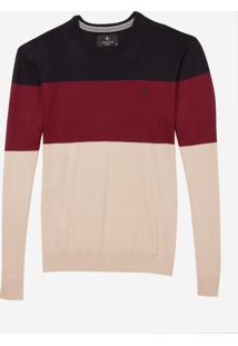 Blusa Dudalina Tricot Tricolor Masculina (Vermelho Medio, Ggg)