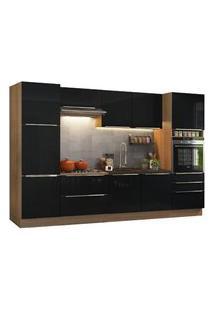 Cozinha Completa Madesa Lux Com Armário E Balcão 9 Portas 5 Gavetas Rustic/Preto Rustic