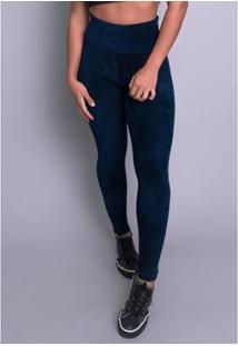 Calça Mvb Modas Veludo Cotelê Cintura Alta Feminina - Feminino-Azul