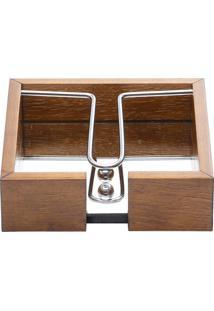 Porta Guardanapo Em Madeira Com Espelho E Aramado 15X4,5Cm