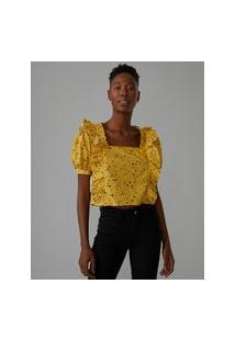 Amaro Feminino Blusa Babados Ombros E Frente, Granilite Yellow