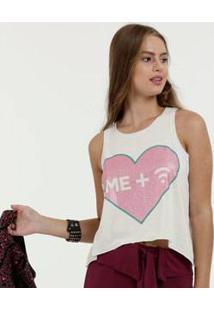 Blusa Feminina Cropped Estampa Coração Brilho Marisa