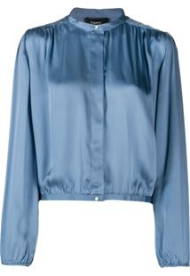 Theory Cropped Gathered Blouse - Azul
