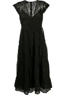 Pinko Vestido Midi Com Renda - Preto