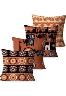 Kit Com 4 Capas Para Almofadas Pump Up Decorativas Terra Safari África 45X45Cm