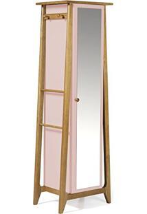 Armário Multiuso 1 Porta Stoka Maxima Nogal/Rosa Bebê