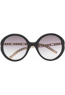 Gucci Eyewear Óculos De Sol Oversized Com Lentes Em Degradê - Preto