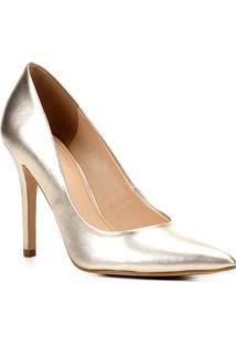 Scarpin Couro Shoestock Metalizado Salto Alto - Feminino-Dourado