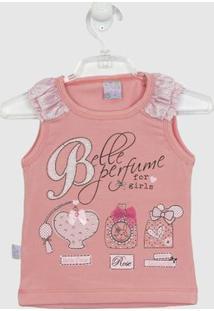 Blusa Quebra Cabeça Regata Detalhe Babado - Feminino-Rosa