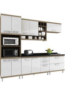 Cozinha New Vitoria 17 Avelã Hecol Móveis Branco