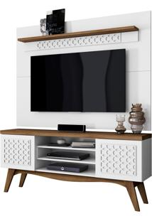 Rack Bancada Lis 02 Portas Com Painel Para Tv Win New Sala De Estar Branco/Canela - Frade Movelaria