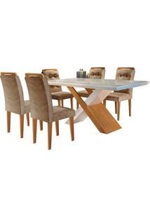 Conjunto De Mesa Para Sala De Jantar Com 6 Cadeiras Doris -Rufato - Animalle Chocolate / Off White / Imbuia