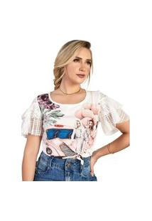 T-Shirt Com Aplicação Em Termocolantes E Mangas Com Babado Em Tule Fascínius Off-White