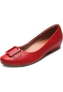 Sapatilha Couro Usaflex Lisa Vermelha