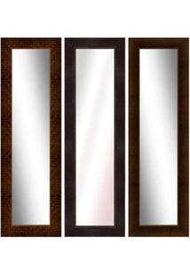 Espelho Emoldurado 48X158Cm Tabaco Euroquadro