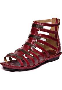 Sandalia Gladiadora Rasteira - Amora / Chocolate 5437 - Vermelho - Feminino - Dafiti