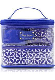 Kit Necessaire 3 Em 1 Geométrica Jacki Design Poliéster + Pvc - Feminino-Azul