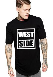 Camiseta Criativa Urbana Long Line Oversized West Side - Masculino-Preto