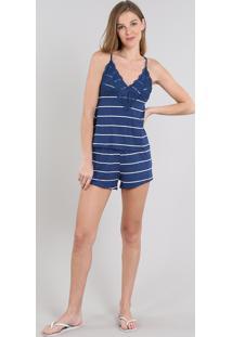 Short Doll Feminino Listrado Com Renda Alça Fina Azul Marinho