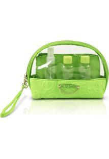 Kit Necessaire Com Frascos Com Relevo Jacki Design Candy Kiss Verde - Tricae