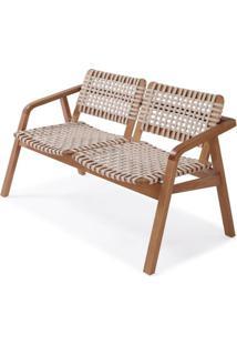 Sofa Amores Assento Corda Cor Areia Estrutura Em Madeira Pinhao - 56906 - Sun House