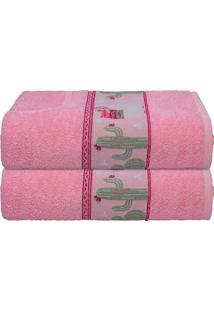 Toalha De Banho Infantil Menina Rosa Lhama Camesa 70X130Cm