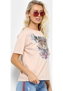 Camiseta Colcci Tigre Feminina - Feminino-Bege