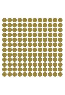 Adesivo De Parede Bolinhas Douradas 144Un
