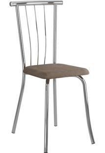 Mesa 1507 Branca Cromada Com 6 Cadeiras 154 Cromada Camurça Conhaque Carraro