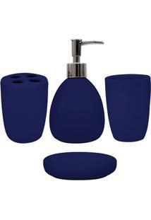 Conjunto De Acessórios Para Banheiro Em Cerâmica Com 4 Peças Azul Marinho