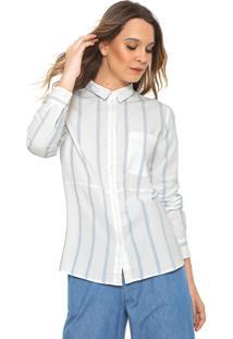 Camisa Only Listras Branca/Azul