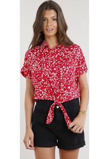 Camisa Feminina Cropped Estampada De Corações Com Nó Manga Curta Vermelha