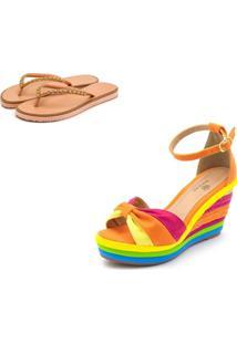 Kit Sandã¡Lia Anabela Salto Alto Com Camurã§A Laranja Pink E Jade E Salto Em Sisal Colorido E Chinela Feminina Rasteira - Multicolorido - Feminino