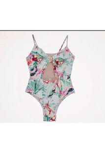 Maiô Zephyr Beachwear Laço No Busto - Feminino-Verde