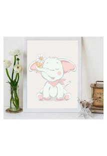 Quadro Decorativo Infantil Elevante Baby Branco - 30X40Cm