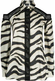 Just Cavalli Blusa Mangas Longas Com Estampa De Zebra E Recorte Vazado - Neutro