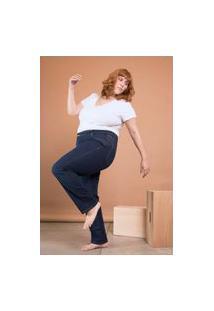 Calça Jeans Reta Cintura Média Plus Size Azul
