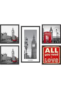Conjunto Com 5 Quadros Decorativos Inglaterra Preto E Vermelho