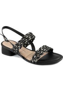 Sandália Salto Grosso Trançada Dakota Feminina Z8162