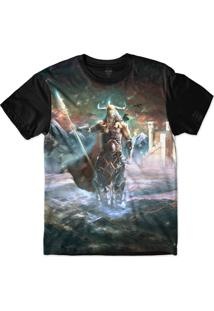 Camiseta Insane 10 Cultura Viking Odin Sublimada Azul
