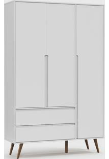 Roupeiro Retrã´ Clean 3 Portas Branco Soft / Eco Wood - Branco - Dafiti