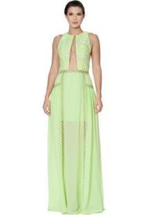 Vestido Longo Kalandra Com Detalhe Em Crochê Feminino - Feminino-Verde