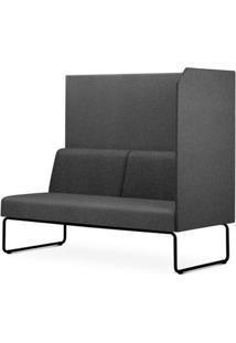 Sofa Privativo Pix Com Lateral Esquerda Aberta Assento Mescla Cinza Escuro Base Aco Preto - 54986 - Sun House